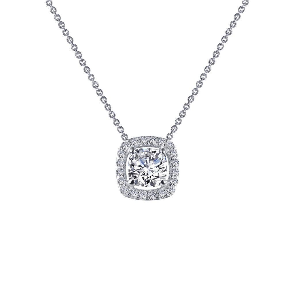 Lafonn Cushion-Cut Halo Necklace