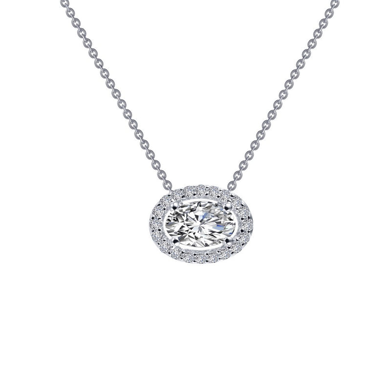 Lafonn 0.63 ct tw Oval Halo Necklace