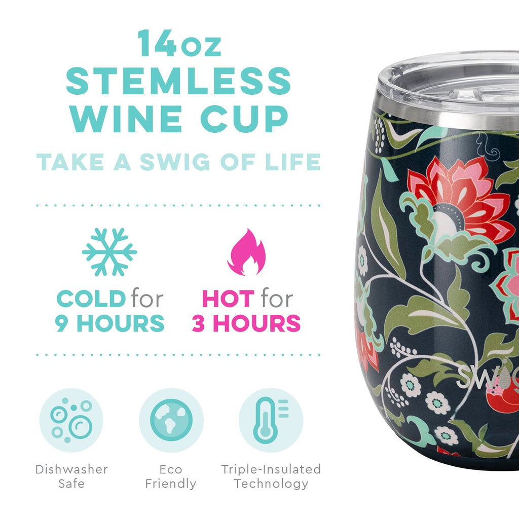 Swig 14 oz Stemless Cup in Lotus Blossom