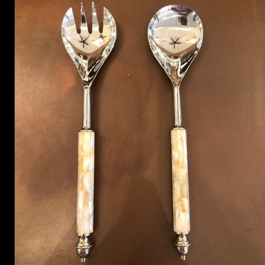 PRIMITIVE MARBLE SERVING SPOON AND FORK SET