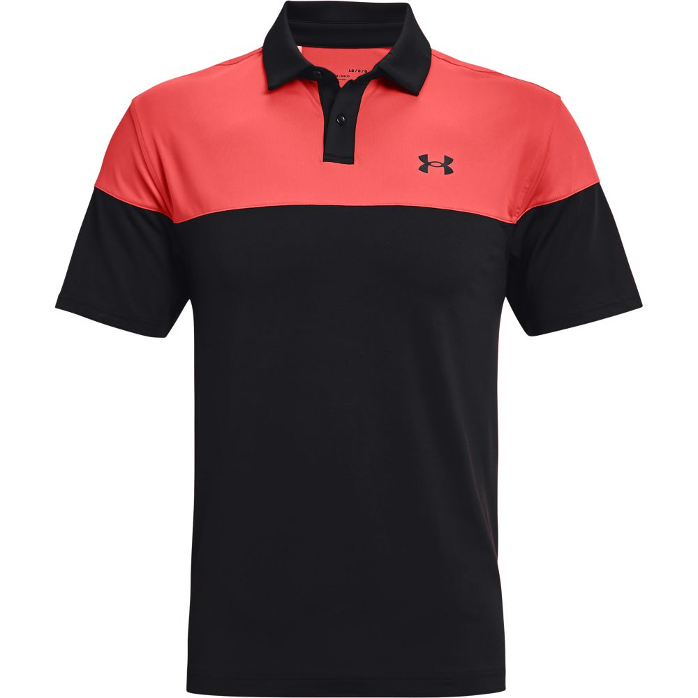 UNDER ARMOUR T2G BLOCKED POLO SHIRT - VENOM RED/BLACK
