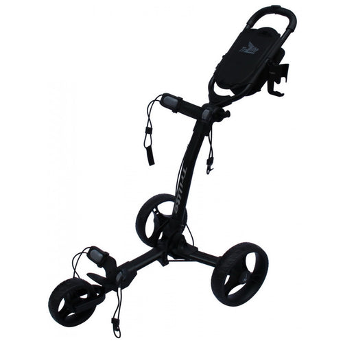 AXGLO TRI-LITE 3 WHEEL GOLF TROLLEY / BLACK  / FREE BROLLY HOLDER & DRINK HOLDE