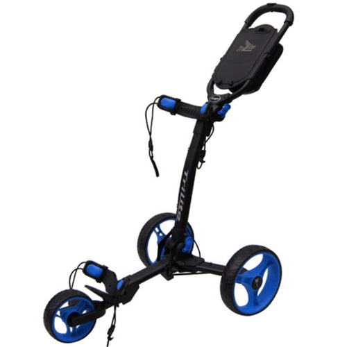 AXGLO TRI-LITE 3 WHEEL GOLF TROLLEY / BLACK & BLUE / FREE BROLLY HOLDER & DRINK HOLDE