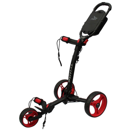 AXGLO TRI-LITE 3 WHEEL GOLF TROLLEY / BLACK & RED  / FREE BROLLY HOLDER & DRINK HOLDE
