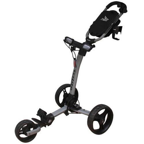 AXGLO TRI-LITE 3 WHEEL GOLF TROLLEY / GREY & BLACK  / FREE BROLLY HOLDER & DRINK HOLDE
