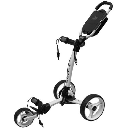 AXGLO TRI-LITE 3 WHEEL GOLF TROLLEY / WHITE & BLACK / FREE BROLLY HOLDER & DRINK HOLDE