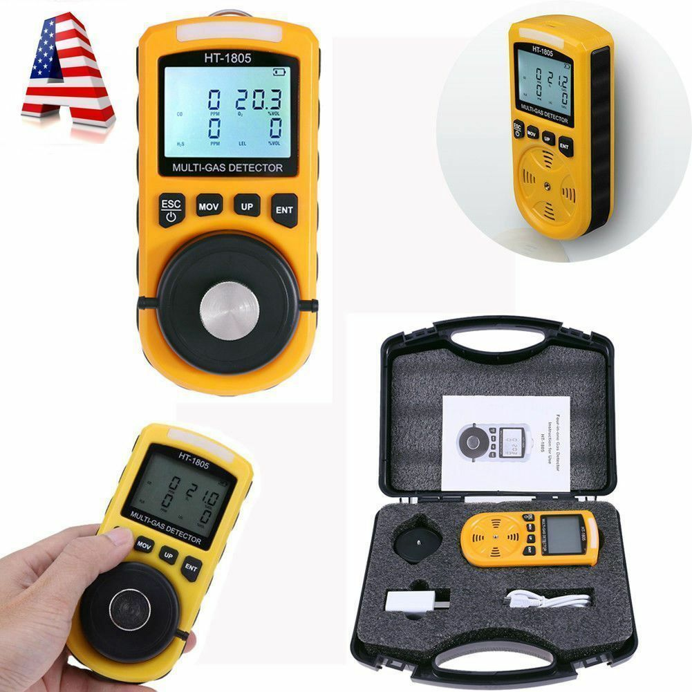 4-in-1 Multi-Gas Detector Tester O2 LEL H2S CO Analyzer Harm Gas Density Monitor