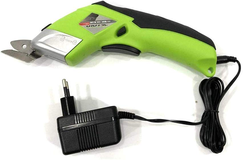 Wireless electric scissors with two cutting blades, sponge cloth, synthetic leather, soft, plastic, cardboard cutting machine, rechargeable battery, rugged, green color