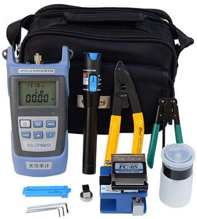 Multi-purpose fiber optic toolkit for fiber termination assembly, optical connector kit, includes fiber optic cable tester