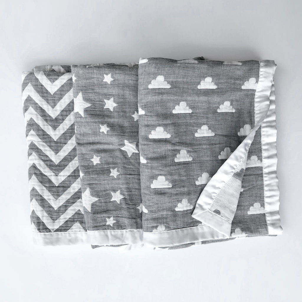 Muslin Jacquard Baby Blankets in Chevron, Stars, and Clouds