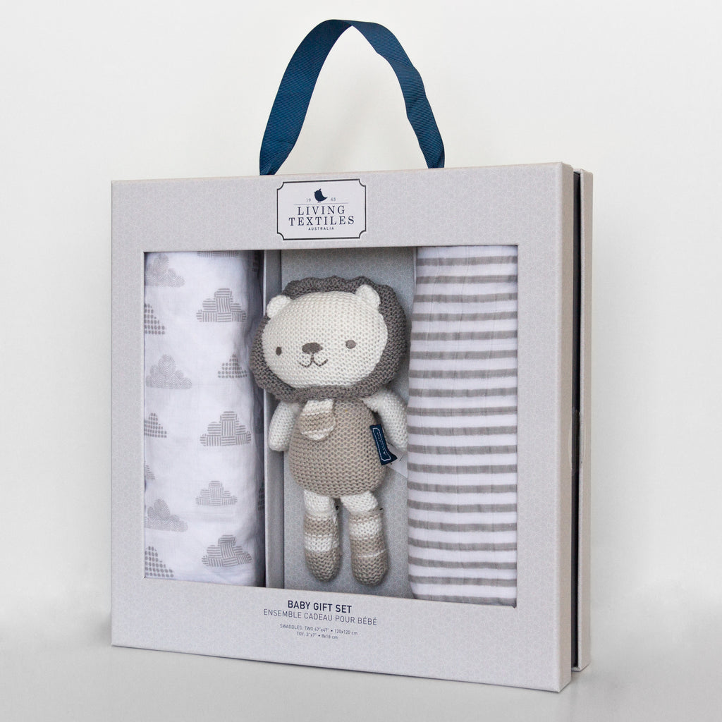 Bento Box Gift Set - 2 pack Muslin Swaddle with Mini Austin Lion Knit Rattle Toy
