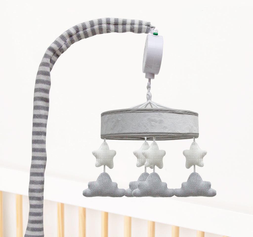 Baby crib musical mobile in grey and white clouds and stars design