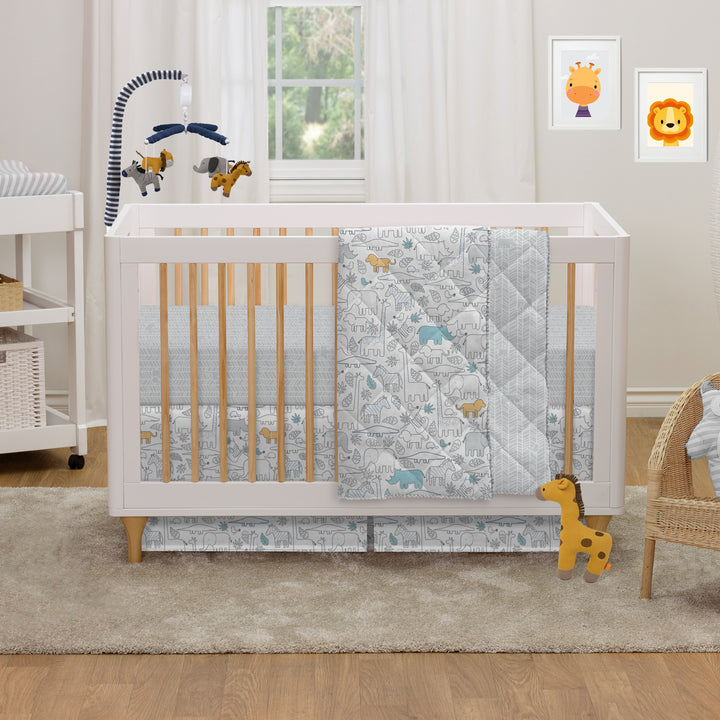 4pc Crib Bedding Set - Safari
