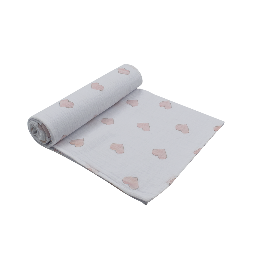 Cotton Muslin Swaddle Pink Hearts