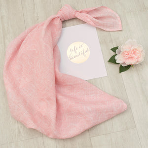 Cotton Muslin Swaddle Blanket - Pink Floral