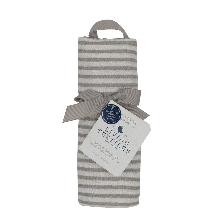 Cotton Muslin Swaddle - Grey Stripe