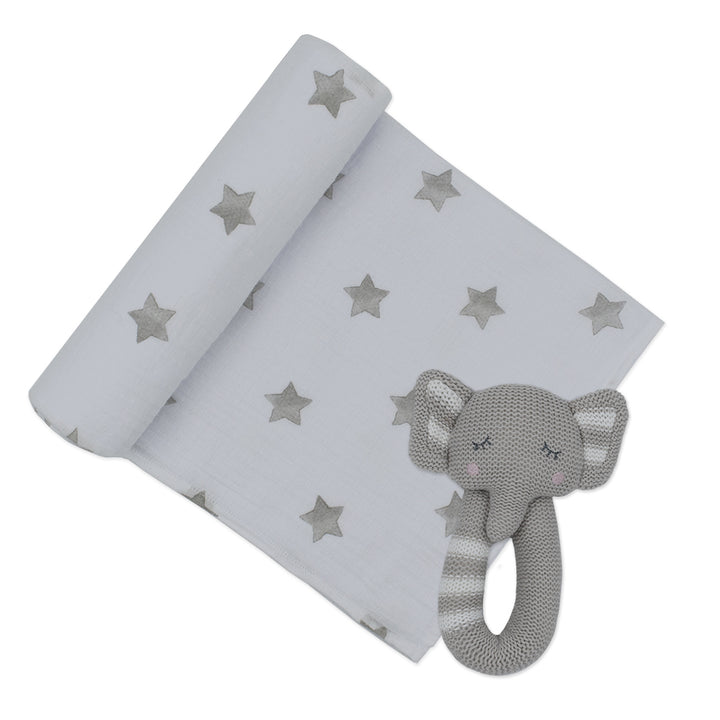 Cotton Muslin Swaddle Grey Stars w/ Theodore Elephant Rattle