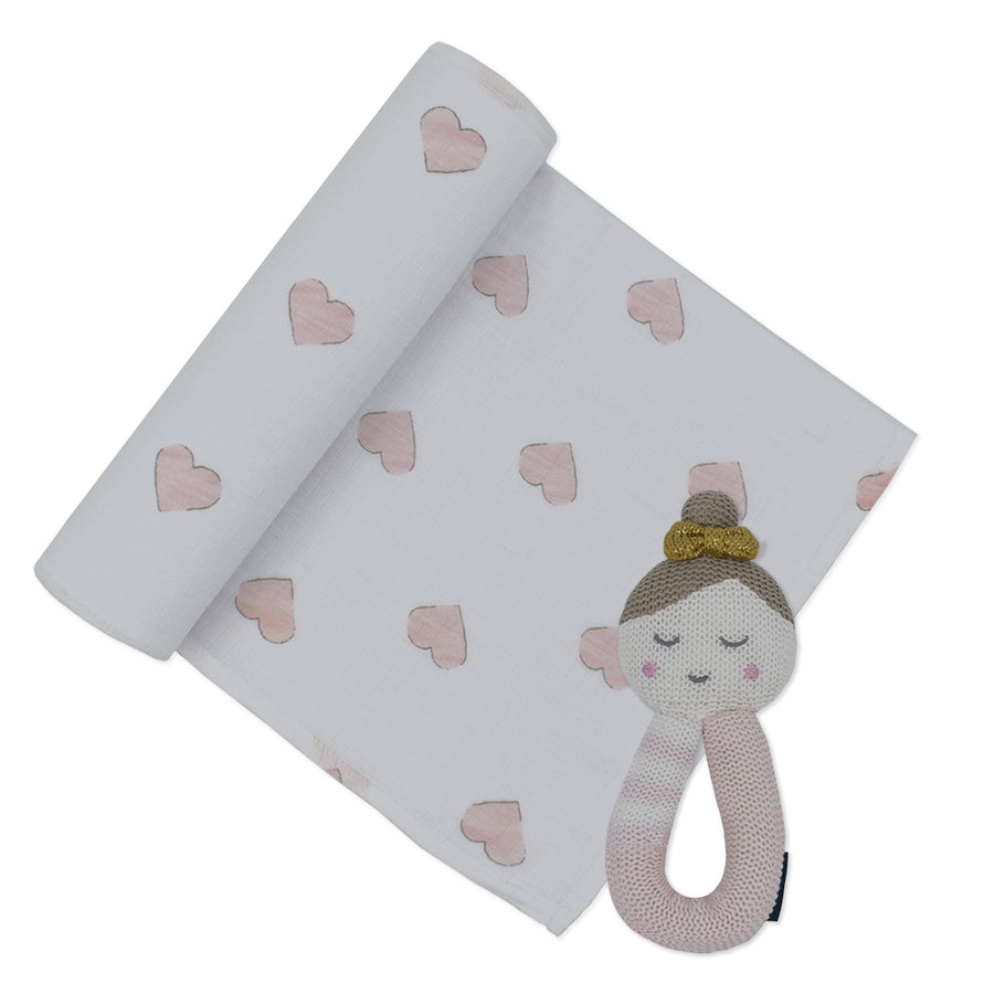 Cotton Muslin Swaddle Pink Hearts w/ Emma Ballerina Rattle