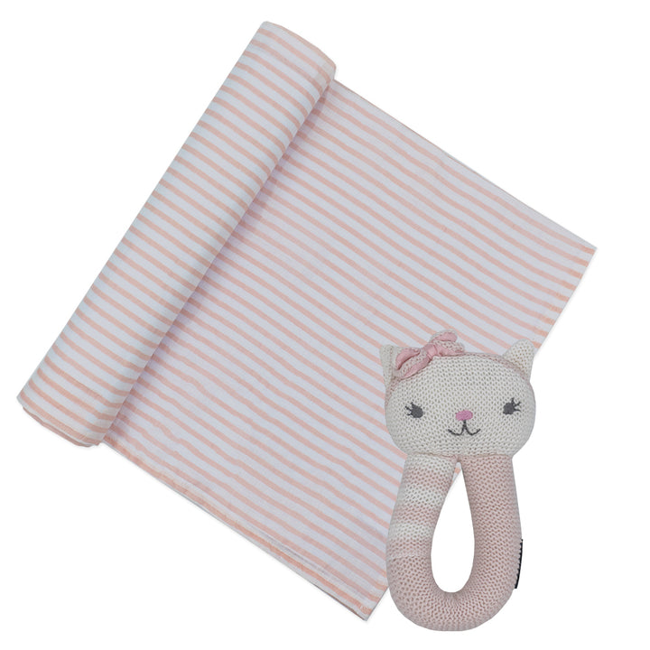 Cotton Muslin Pink Stripe w/ Ava Cat Rattle