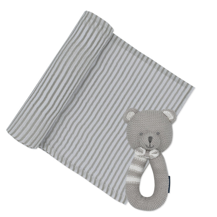 Cotton Muslin Swaddle Grey Stripe w/ Bentley Bear