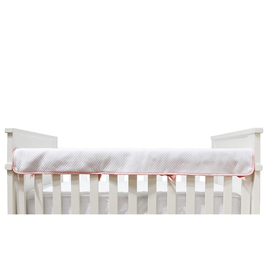 Crib Rail Cover - Diamond Matelassé White - Living Textiles Co.