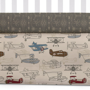 Crib Bed Skirt - Aeroplanes - Living Textiles Co.