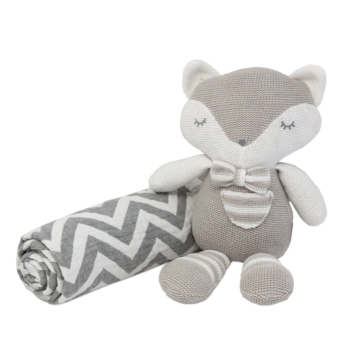 2pc Baby Set - Chevron Muslin Jacquard Baby Blanket + Charley Fox Knitted Toy