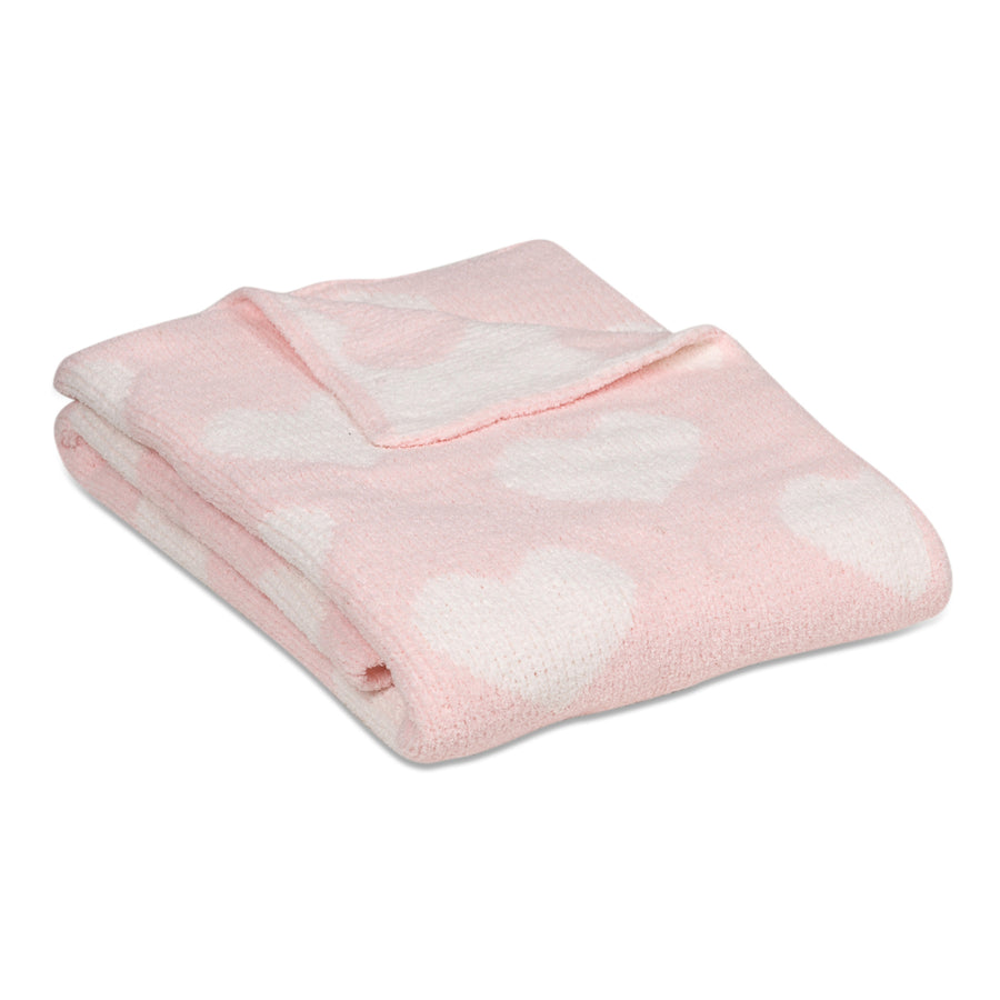Chenille Baby Blanket - Pink Hearts - Living Textiles Co.