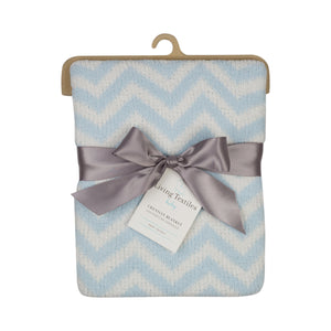 Chenille Baby Blanket - Blue Chevron - Living Textiles Co.