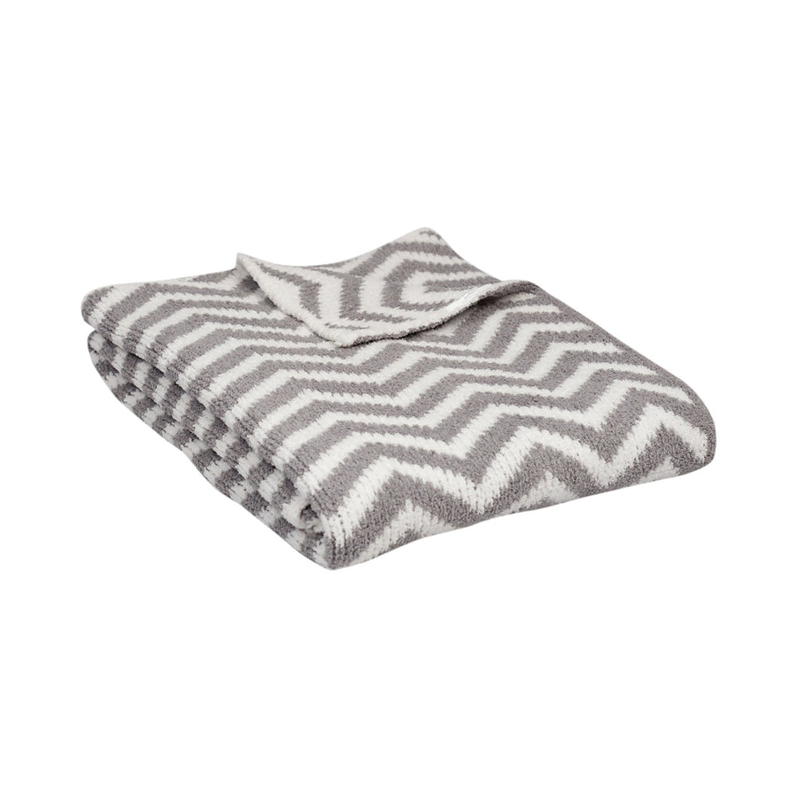 Chenille Baby Blanket - Grey Chevron - Living Textiles Co.