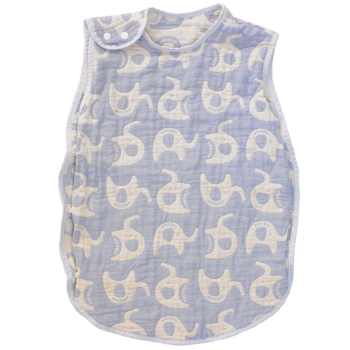 Muslin Jacquard Wearable Baby Blanket - Blue Elephant - Living Textiles Co.