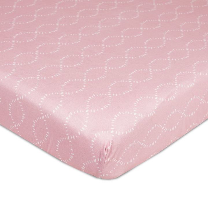 Crib Fitted Sheet - Pink Braids - Living Textiles Co.