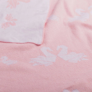 Cotton Jacquard Baby Blanket - Swan Parade - Living Textiles Co.