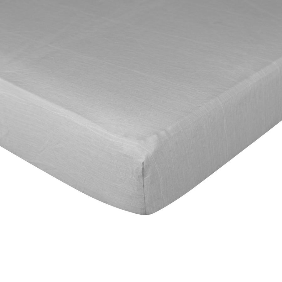 Crib Fitted Sheet - Grey Crinkle - Living Textiles Co.
