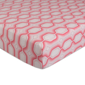 Crib Fitted Sheet - Pink Oasis - Living Textiles Co.