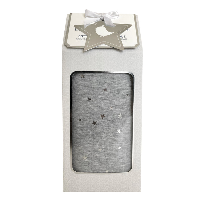 1pk Cotton Jersey Swaddle - Grey Metallic Stars