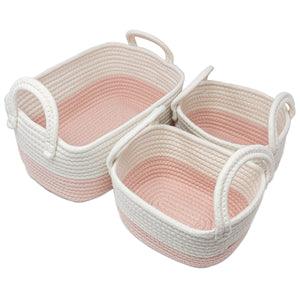 3PC Cotton Nursery Storage - Pink