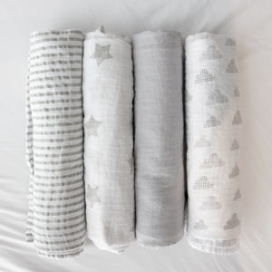 Baby Bento Gift Set - Muslin Swaddle Blanket - Grey