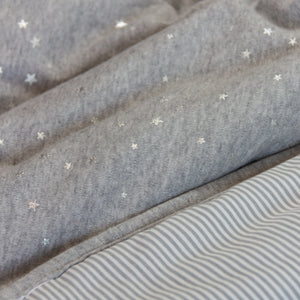 Quilted Comforter - Metallic Stars + Grey Heathered Stripes