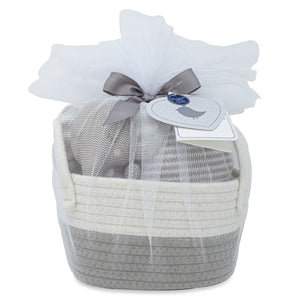 Cotton Gift Basket - Theodore Knit Toy + Stripe Blanket