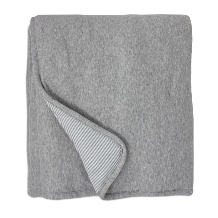 Quilted Comforter - Grey Marl + Grey Heathered Stripes
