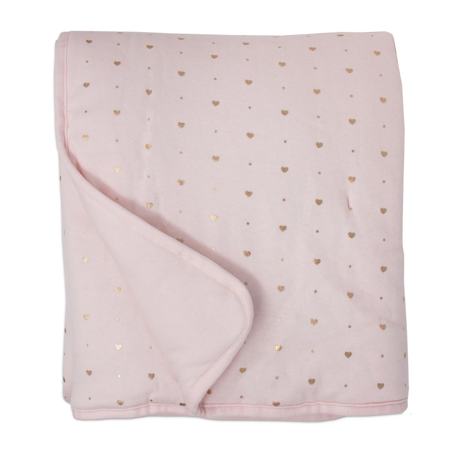 Quilted Comforter - Metallic Hearts + Solid Pink