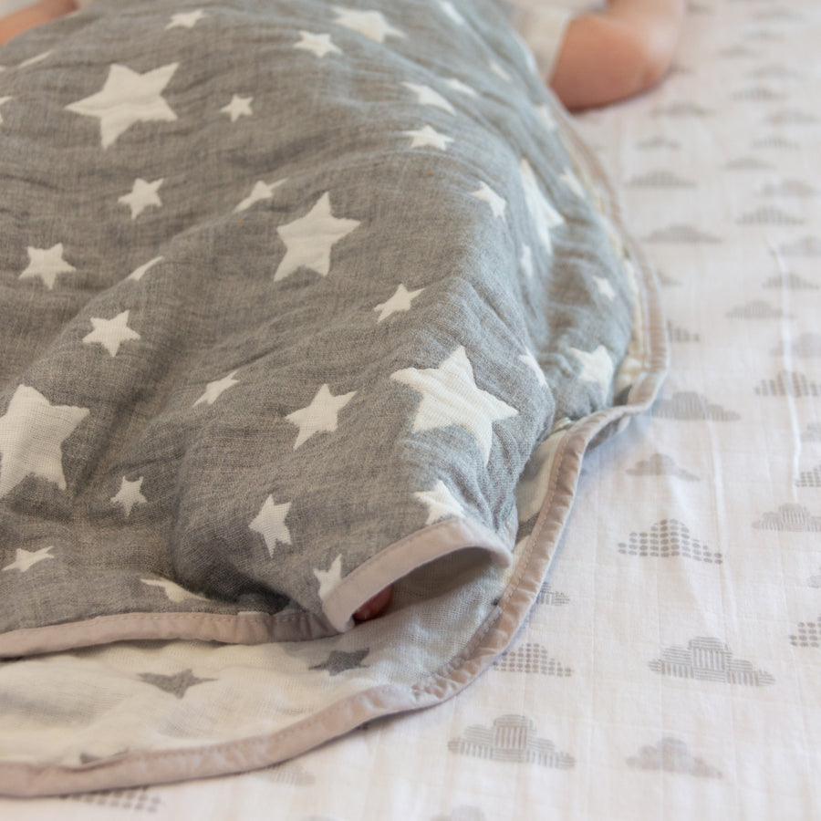 Cotton Muslin Jacquard Wearable Blanket - Grey Stars