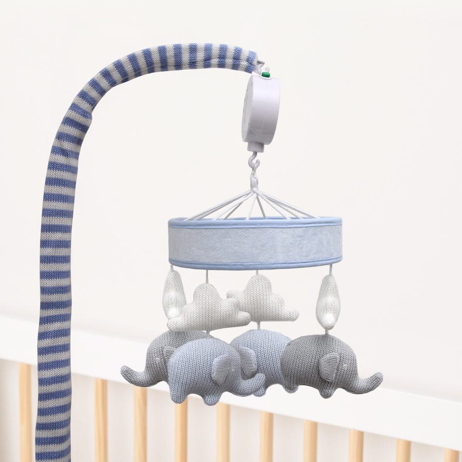 Knitted Musical Mobile - Blue Elephants