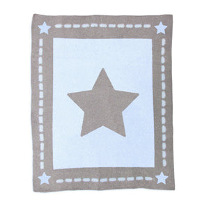 Cozy Chenille Baby Blanket - Blue Star