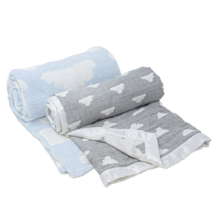 2pc Baby Set - Grey Clouds Muslin Jacquard + Blue Clouds Chenille Baby Blanket