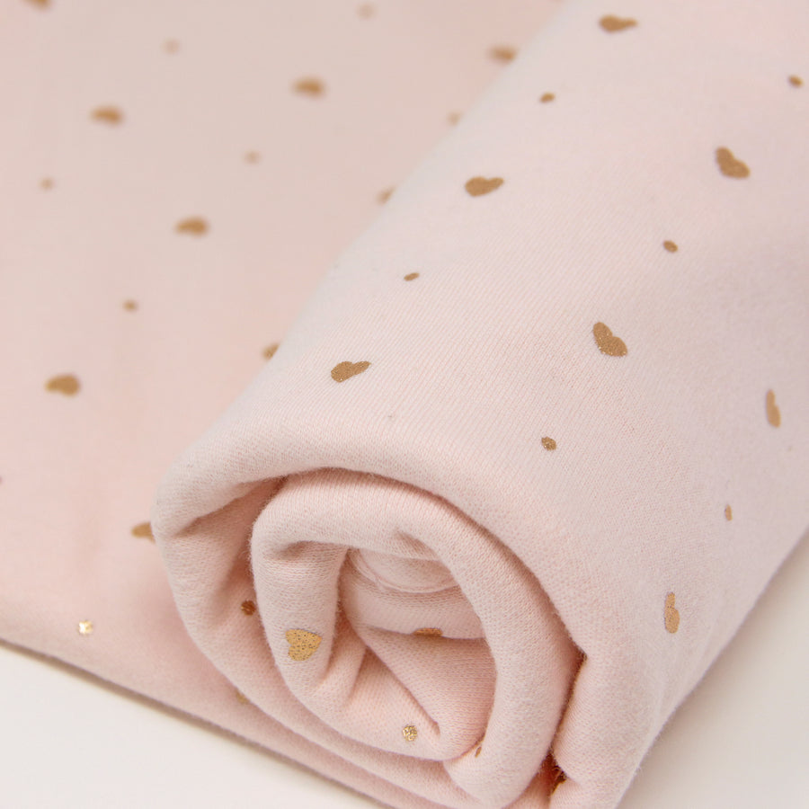 1pk Cotton Jersey Swaddle - Pink Metallic Hearts