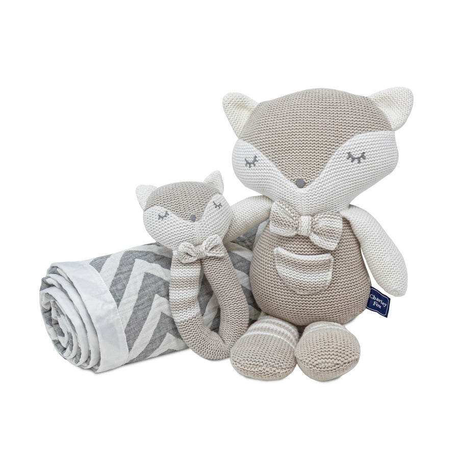 3pc Baby Set - Chevron Muslin Jacquard Baby Blanket + Charley Fox Knitted Toy + Charley Fox Rattle