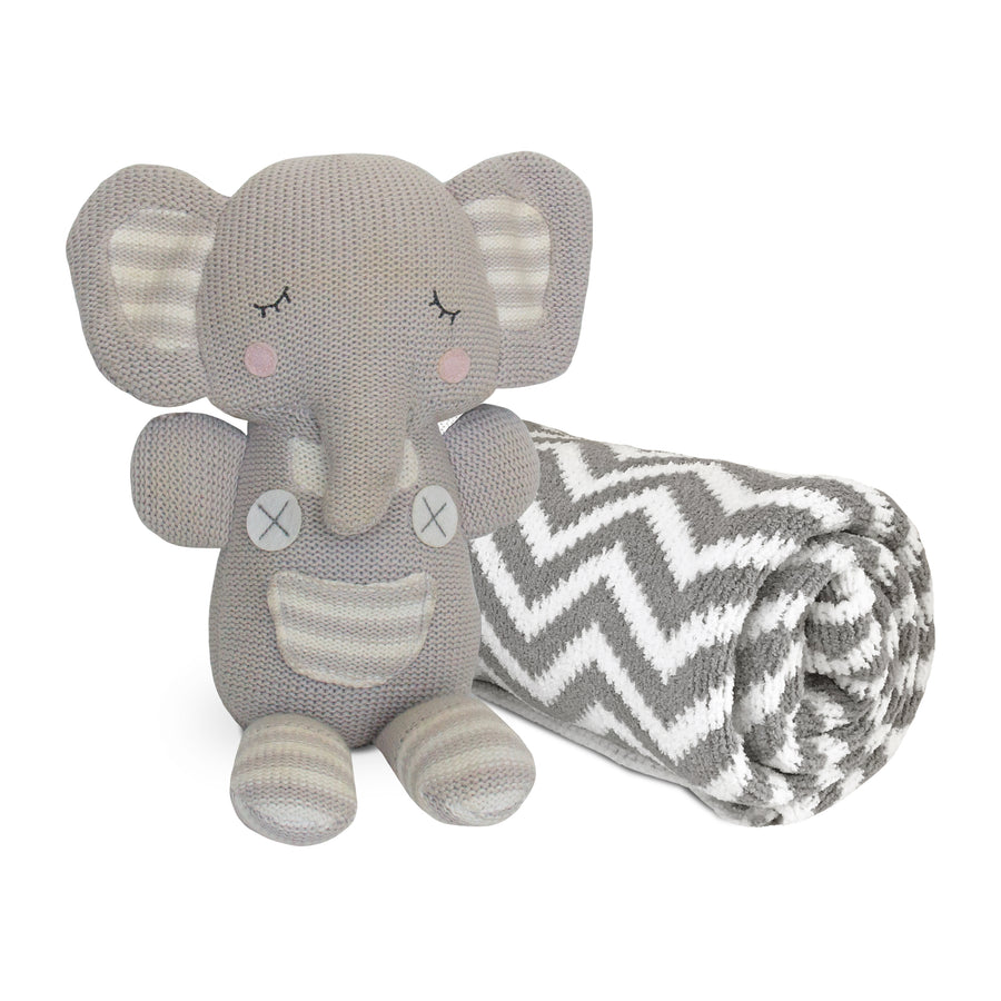 2pc Baby Set - Chevron Chenille Baby Blanket + Theodore Elephant Knitted Toy