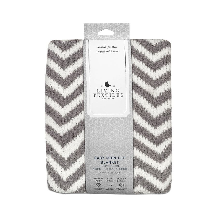 Best Baby Blankets | Chenille Baby Blanket - Grey Chevron | Living Textiles Co.